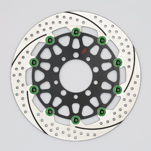 バイク用品 ブレーキ クラッチSUNSTAR BRAKE サンスター プレミアムR スリット&ホール R MT-01(φ320)ピン:グリーンEM103FR-GR 4589719028926取寄品 セール