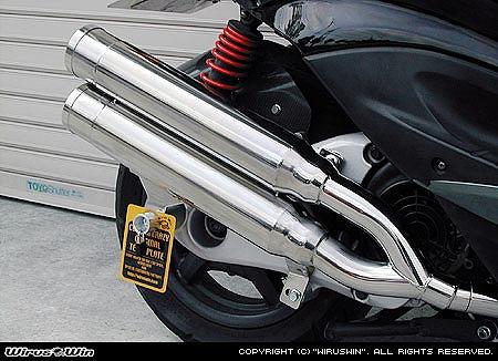バイク用品 マフラー 4ストフルエキゾーストマフラーウイルズウィン WirusWin スタイリッシュツインマフラー バズーカー シグナスX162-14-02 4547424860477取寄品 スーパーセール