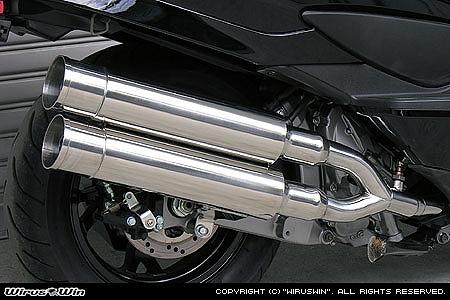 バイク用品 マフラー 4ストフルエキゾーストマフラーウイルズウィン WirusWin スタイリッシュツインマフラー バズーカー SKYWAVE250(CJ44 45 46)312-14-02 4547567451082取寄品 スーパーセール