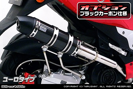 バイク用品 マフラー 4ストフルエキゾーストマフラーウイルズウィン WirusWin ロイヤルマフラー ユーロタイプ ブラックカーボン PGO G-MAX220562-59-14 4548664500291取寄品 スーパーセール