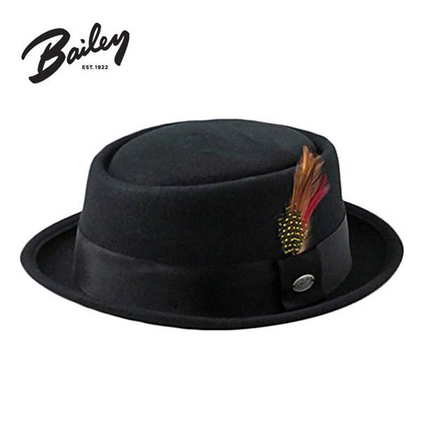 送料無料 BAILEY ウールフェルトポークパイハット[ARVID]Lサイズ ポークパイ パイ型 テラピンチ 羽根付き 中折れハット 中折れ帽 ブリムアップ ショートブリム ウール フェルトハット フエルトハット 羊毛 メンズ 男性 紳士 秋冬 ベイリー 168-154238 帽子