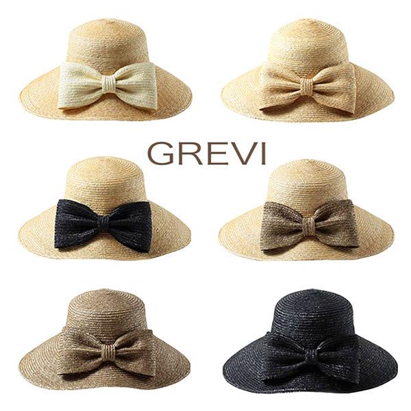 ≪SALE≫GREVI 前リボン付き つば広 ストローハット イタリア製 グレビ 麦わら帽子 つば広ハット つば広帽子 紫外線防止 レディース 女性 春夏 グレヴィ 40-38002 帽子 送料無料 セール