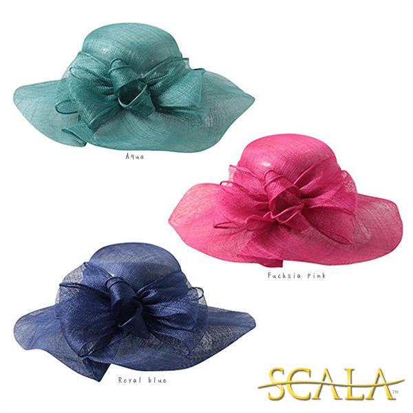 送料無料 SCALA シナマイ つば広ストローハット アメリカ 麦わら帽子 つば広ハット つば広帽子 ストローハット フォーマル リゾート エレガント カラフル レディース 女性 婦人 春夏 DORFMAN PACIFIC スカラ LD48 帽子