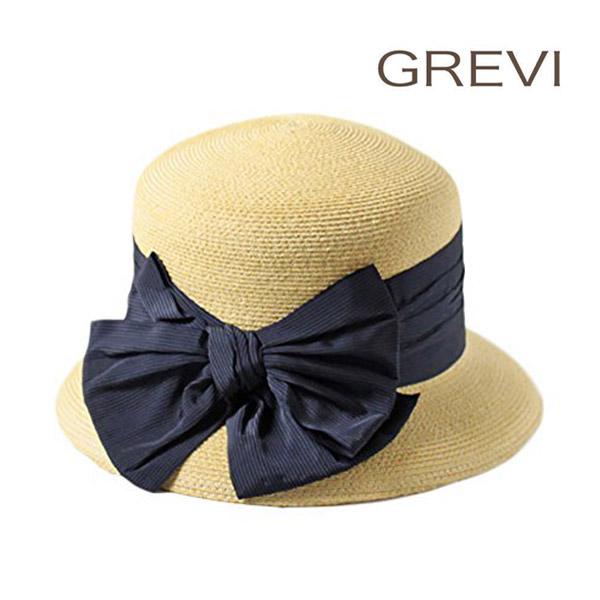 送料無料 GREVI リボン付き ストローハット イタリア製 麦わら帽子 ストローハット クロッシェ バケットハット ベル型 バケツ 小つば ストライプリボン 紫外線対策 UVケア 日よけ クラシカル レトロ 高級 グレビ レディース 女性 春夏 グレヴィ 6388 帽子 ランキング入賞