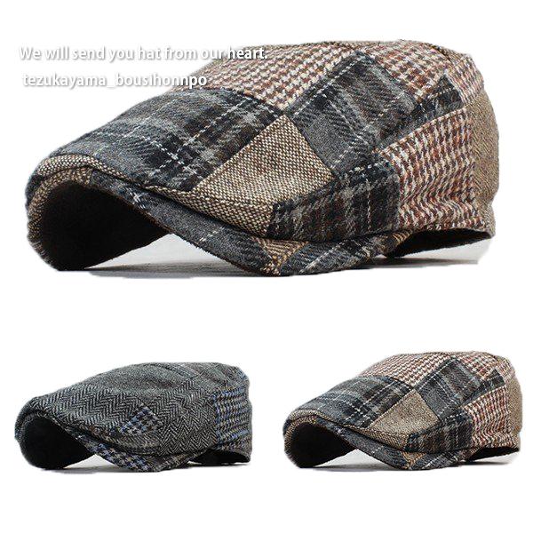 2020春夏新作 ハンチング メンズ 帽子 ウール混 Patchwork 春夏 トレンド 贈り物 プレゼント 父の日 秋冬 情熱セール