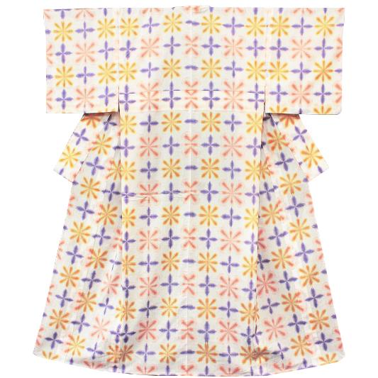 在庫処分 浴衣 レディース フリーサイズ 白地 黄 紫 ピンク有松鳴海染 雪花絞り風 花 花柄 夏祭り 花火大会 和柄 清楚 シンプル シック エレガント 可愛い 大人可愛い 大人 オシャレ Lサイズ No.3-0042