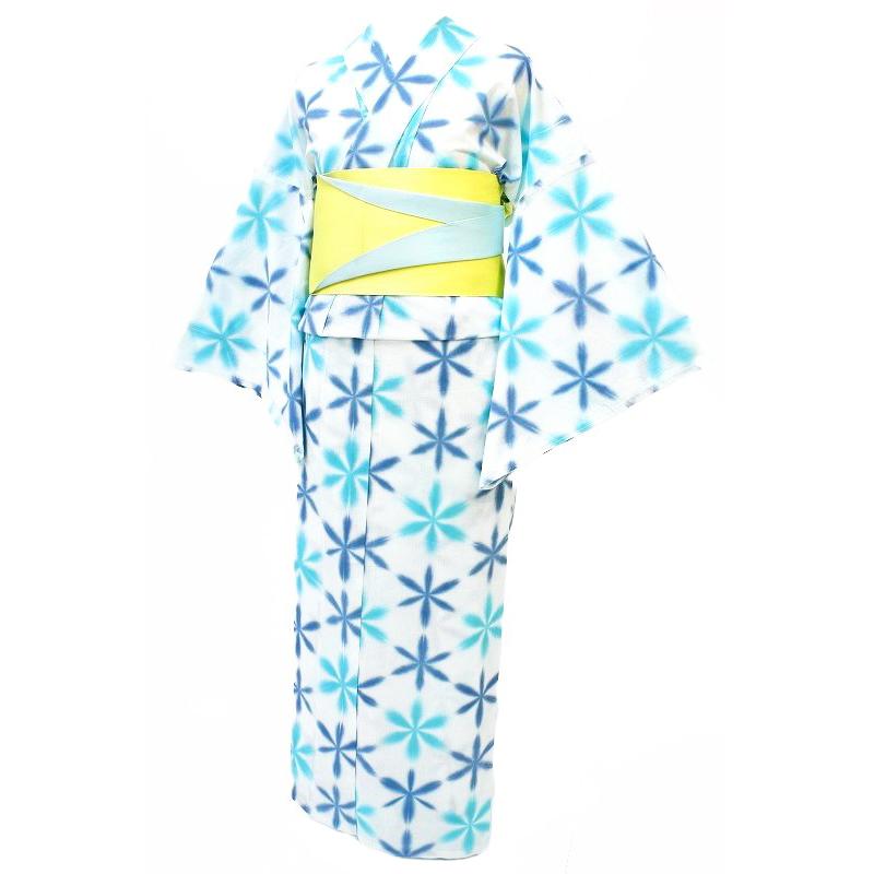 在庫処分 浴衣 レディース フリーサイズ 白地 水色 青色 板締め絞り 雪花絞り風 雪花 夏祭り 花火大会 和柄 清楚 シンプル シック エレガント 可愛い 大人可愛い 大人 オシャレ Mサイズ No.3-0112