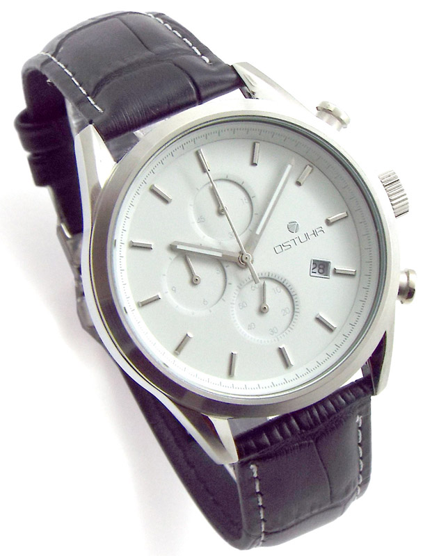 ポイント最大25倍 メンズ 腕時計 クロノグラフ OSTUHR オストウーア 革ベルト 時計 O-1401M-A