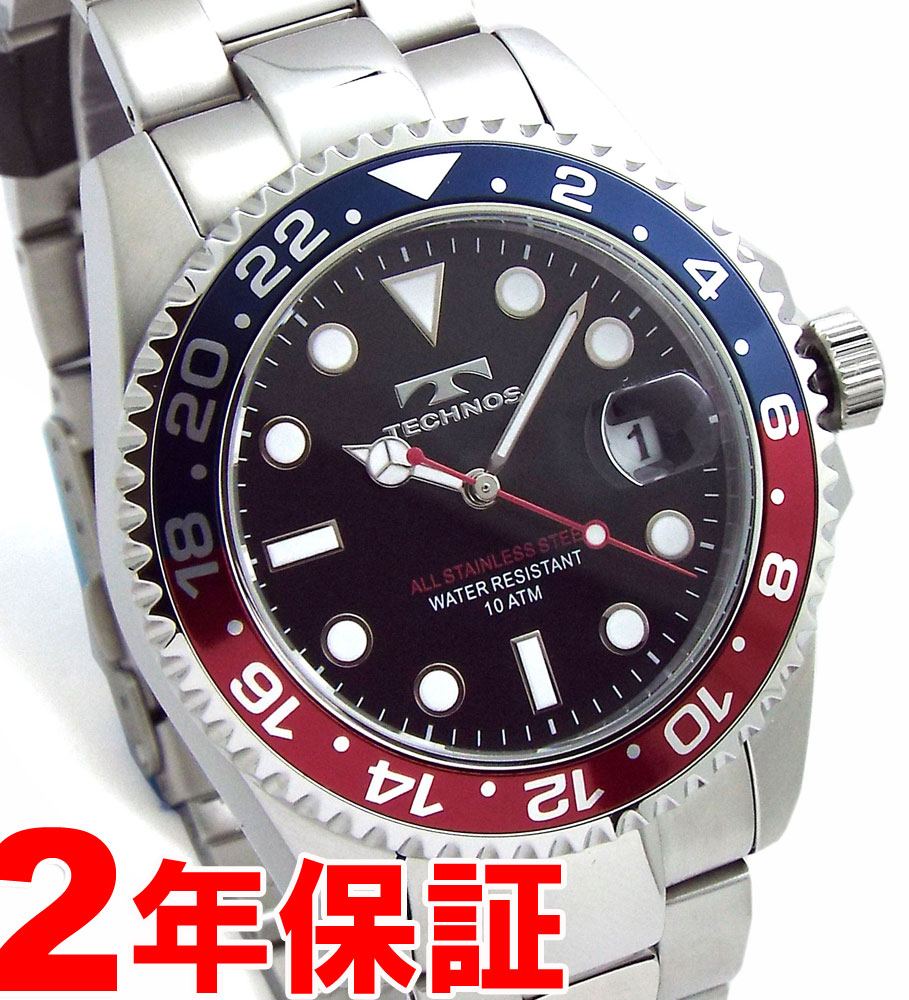 TECHNOS テクノス メンズ ダイバーズウオッチ ダイバー 10気圧防水 青赤ベゼル 回転ベゼル ブラック 腕時計 バンド調節工具付属 TSM412NB