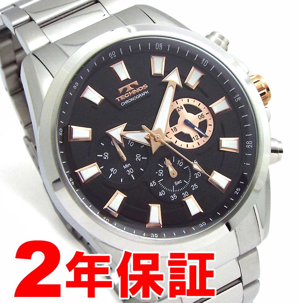 【 さらに10%offクーポン配布中 】 TECHNOS テクノス メンズ クロノグラフ BIGFACE ブラック 腕時計 バンド調節工具付属 TSM616SB