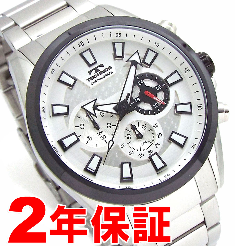 【 さらに10%offクーポン配布中 】 TECHNOS テクノス メンズ クロノグラフ BIGFACE シルバー 腕時計 バンド調節工具付属 TSM616TS