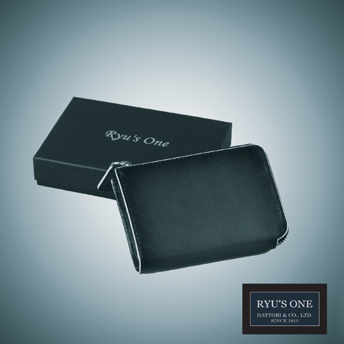 RYU'S ONE 牛革 グラデーション パス入れ付コインケースネイビー オンラインショッピング グリーン リューズワン 送料無料お手入れ要らず GG レッド 箱付 154002
