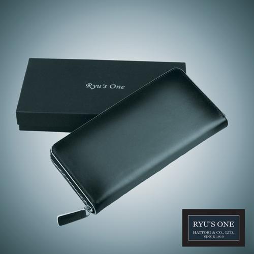 RYU'S ONE 牛革 グラデーション ネイビー グリーン リューズワン レッド 購買 箱付 154005 好評 GG ラウンド長財布