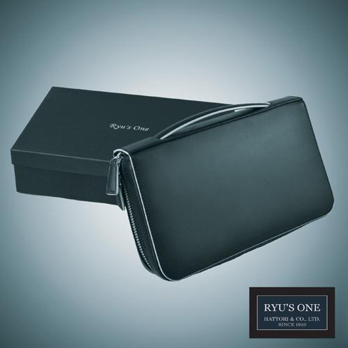 RYU'S ONE 牛革 グラデーション ラウンドポーチ ネイビー グリーン レッド リューズワン GG 154006 箱付