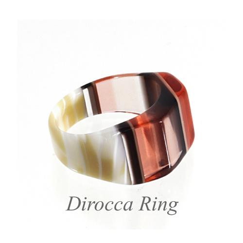 【 ディロッカ リング】金属アレルギー対応! アセテート リング レディース アクセサリー ガラス細工みたい オシャレ 指輪 プレゼントスクエアトップ形 クリア系 ピンク・アイボリー・ブラックのストライプ柄リングサイズ17号 少し大きめ