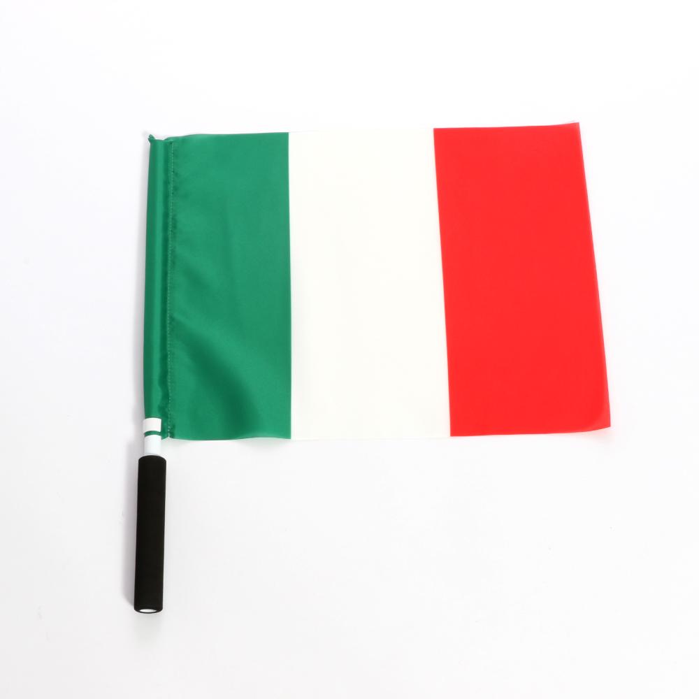スポーツ ラグビー 高品質新品 サッカーなど 応援に最適なグリップ付手旗 割引も実施中 ポンジ 40x30cm 応援旗 国名:イタリア