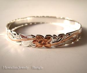 送料無料 ハワイアンジュエリーバングル シルバー製にピンクゴールドコーティング幅8mm 定価20000円 プルメリア Hawaiian Jewelry Bangle