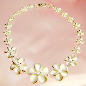 プルメリアブレスレット ハワイアンジュエリー シルバー プレゼント ギフト 女性 Hawaiian Jewelry