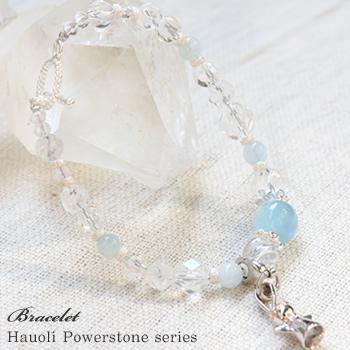 パワーストーン 天然石 ブレスレット 送料無料アクアマリンハワイアンジュエリー付ハワイ ブレスレット 恋愛運・子宝Hawaiian Jewelry