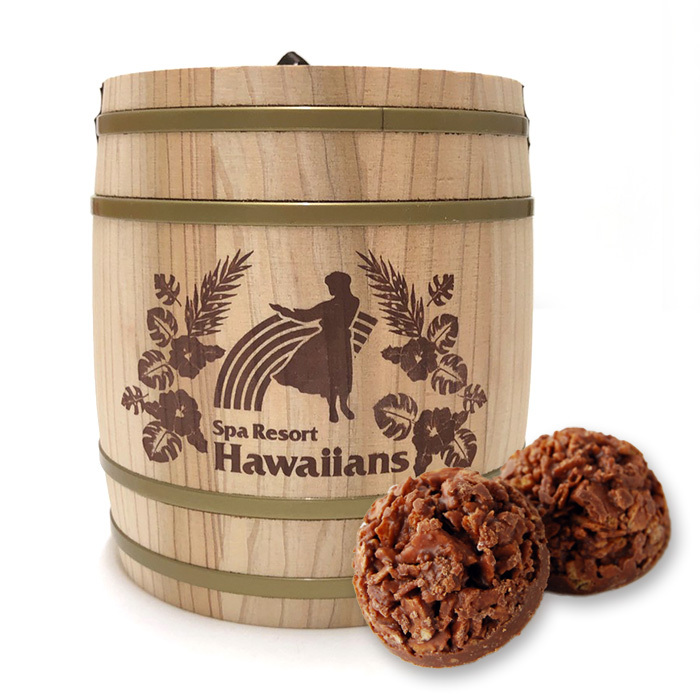 絶品 2021夏の新商品 食べたあとも使える木樽デザイン 今だけスーパーセール限定 ハワイアンズ 樽入り 消費税10%商品 チョコクランチ
