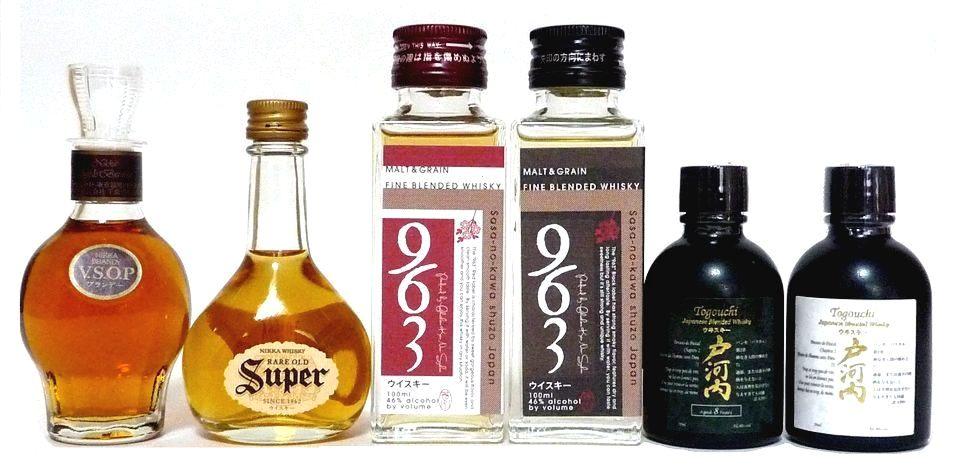 国産ミニチュアボトル(ウィスキー、ブランデー) 6本セット