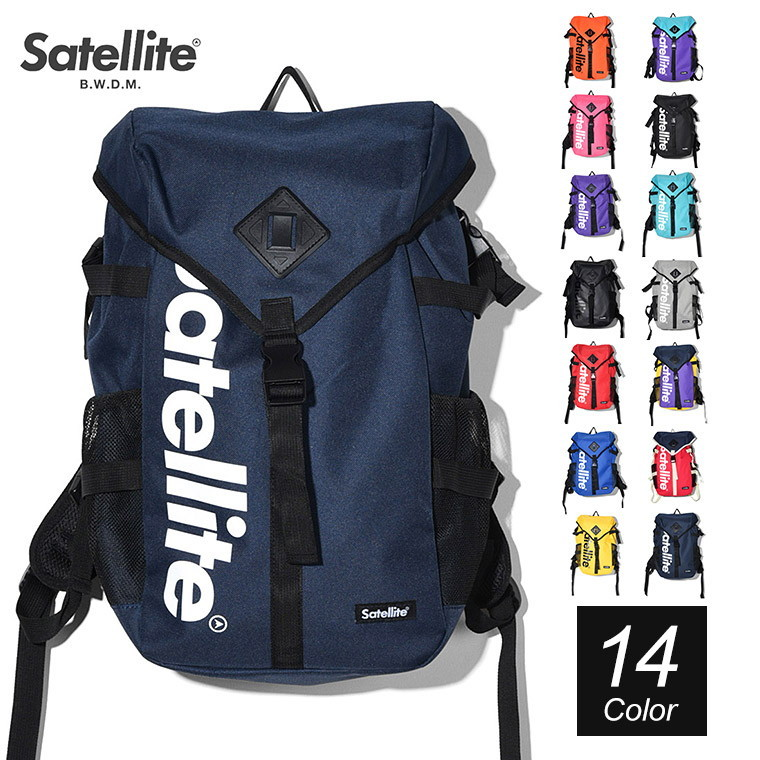 The backpack that a brand logo was printed at the front desk by Satellite  (satellite) is raunch. 86a9afee43290