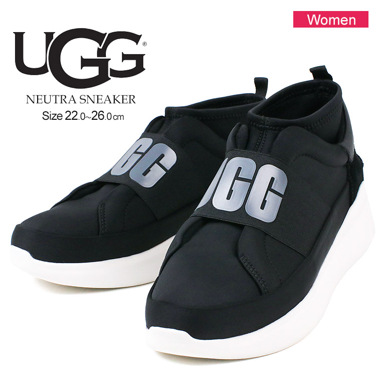 a271c3bff86 アグ UGG NEUTRA SNEAKER big logo current style sneakers Lady's thickness  bottom light weight slip-ons graphic 1095097 black black brand glitter mode  ...