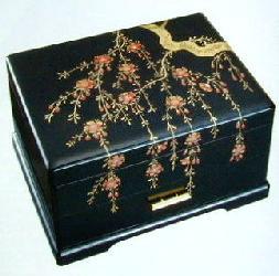 会津漆器宝石箱オルゴール(しだれ桜)B319A【楽ギフ_包装選択】
