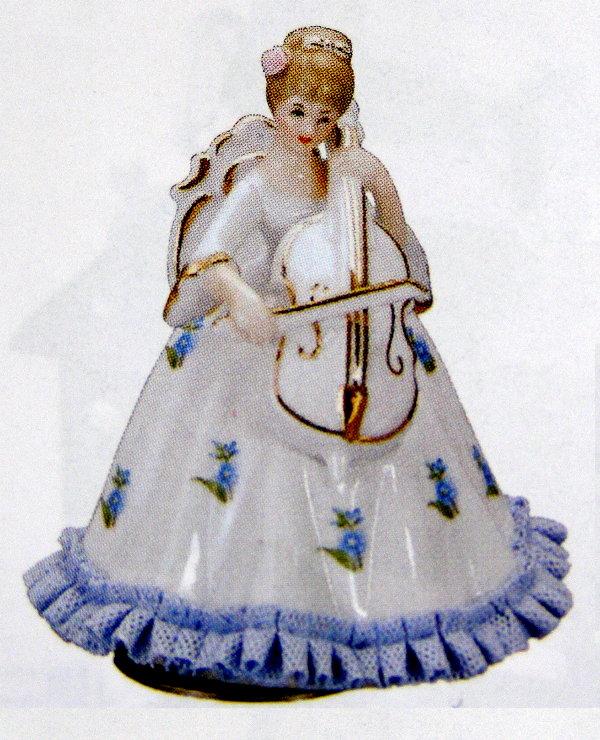 陶器レース人形回転オルゴール(ヴィオラを弾く女性】