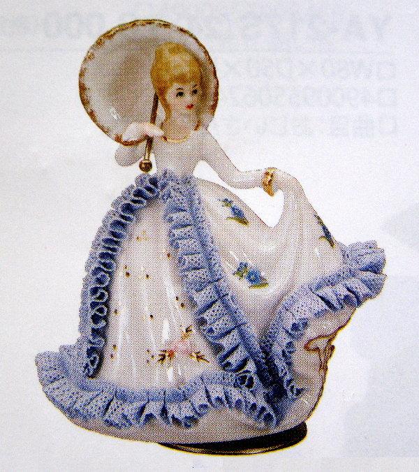 陶器レース人形回転オルゴール(日傘で踊る女性A/B)