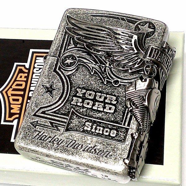 ZIPPO ライター ハーレーダビッドソン ジッポ アンティークシルバー 銀古美 3面大型メタル イーグル HARLEY-DAVIDSON 日本国内限定モデル かっこいい ギフト
