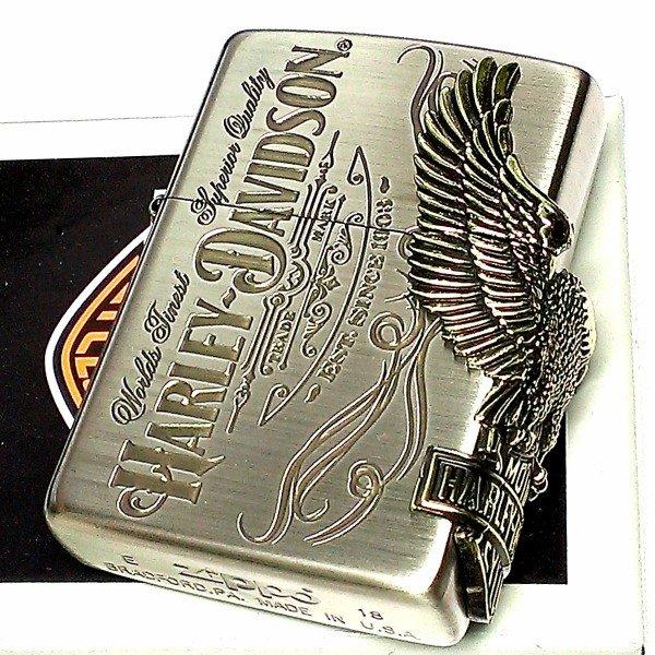 ジッポライター ハーレーダビッドソン ZIPPO かっこいい アンティーク シルバー&ゴールド 金銀 古美仕上げ 3面メタル 鷲 日本国内限定モデル メンズ ギフト