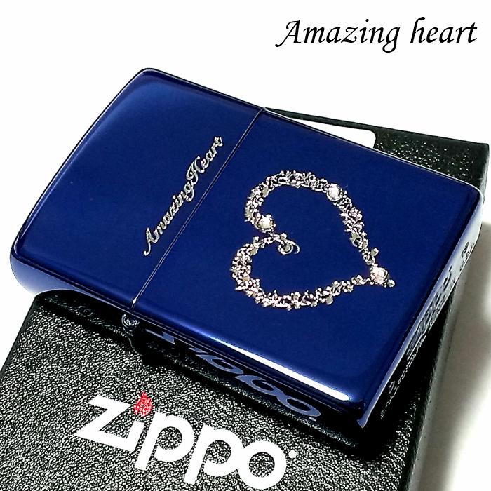 ZIPPO ライター ジッポ アメージングハート スワロフスキー 可愛い イオンブルー メンズ レディース ジッポー ギフト プレゼント かわいい 彫刻 おしゃれ