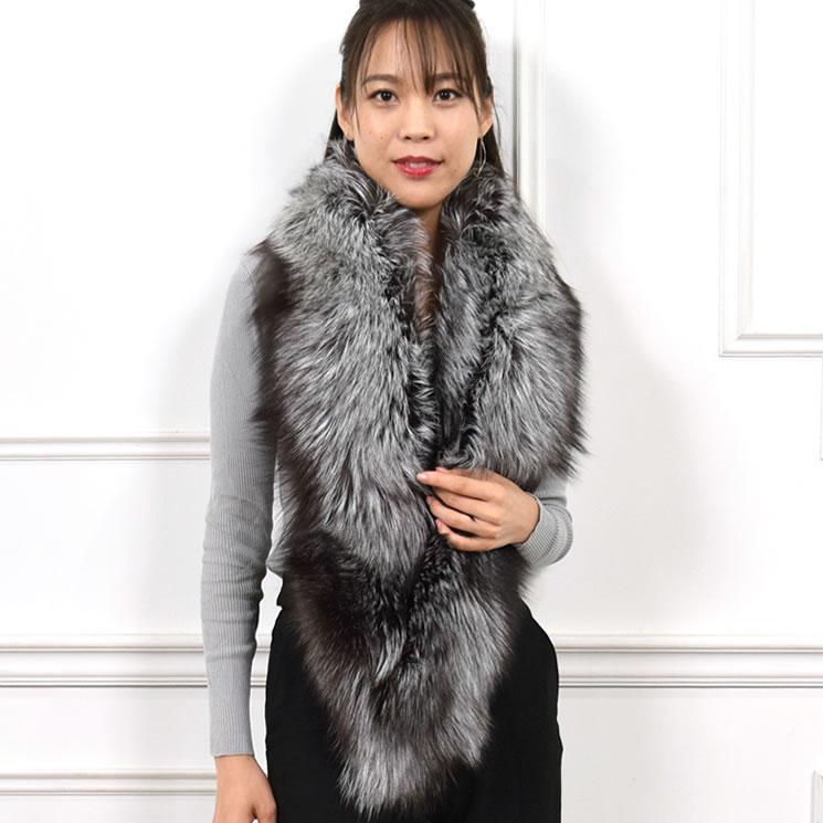装いを美しく盛り上げる印象的なロングファーマフラー 日本製 SAGA シルバーフォックス ファーマフラー (FS4367)女性用 レデイース 結婚式 プレゼント ギフト ファー小物 レディース カラー ファー ミセス ファッション 40代 50代