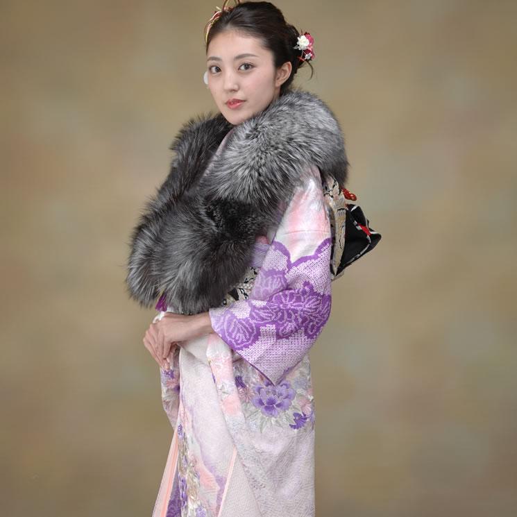 日本製シルバーフォックス和装兼用ストール !!(FS1256) 毛皮・ファー 女性用 レデイース プレゼント ギフト ファー 毛皮 ファー ショール ファー ストール 成人式 着物  ミセス ファッション 40代 50代