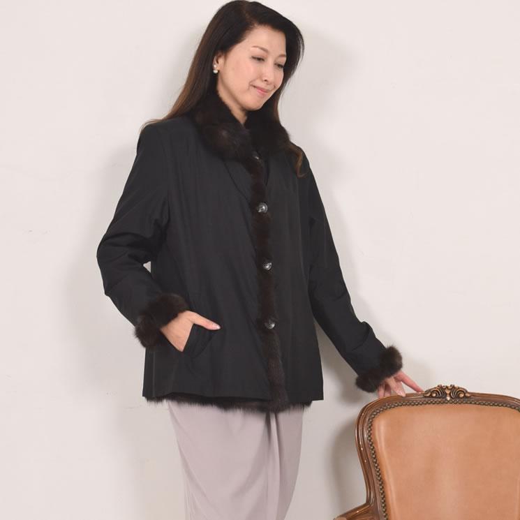 ロシアンセーブルリバーシブルレイヤードジャケット 送料無料!!(RS0171) 毛皮・ファー 女性用 レデイース プレゼント ギフト coat 冬 ファー 毛皮の王様 ミセス ファッション 40代 50代