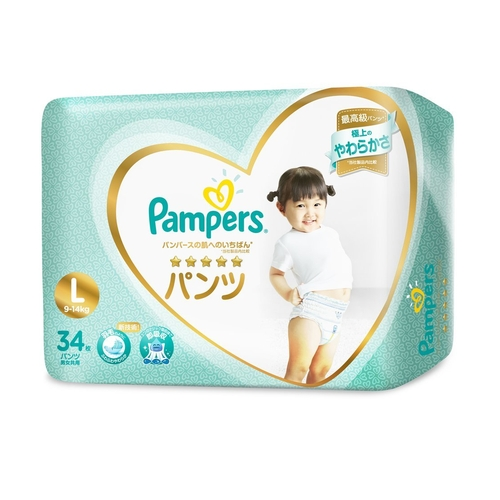 【送料無料】パンパース はじめての肌へのいちばんパンツ/スーパージャンボL【34枚 × 4袋】(P&GJapan)【ベビー用品/テープ止めタイプ】