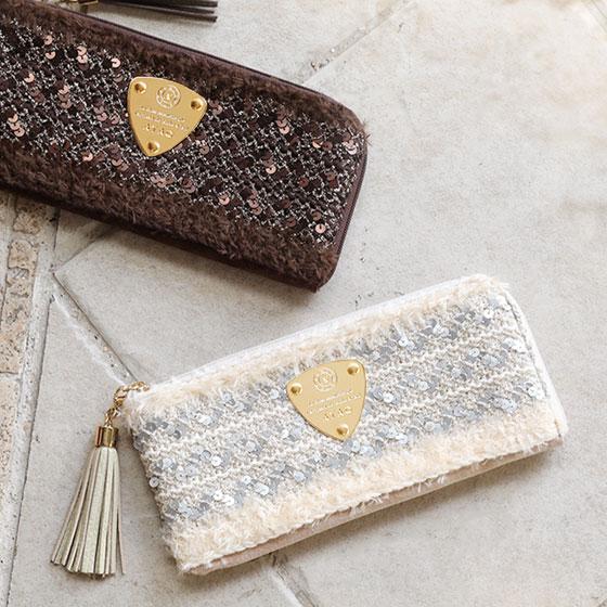 【ATAO】京都の職人仕立て、珍しすぎるスパンコールを織り込んだウォレット limo bijou(リモビジュー)長財布 アタオ 355-1132