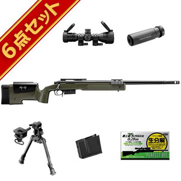 東京マルイ M40A5 スターター OD 6点 スナイパー スナイパーライフル フルセット/エアガン (ボルトアクションエアーライフル M40A5 本体+予備マガジン+スコープ+サイレンサー+バイポッド+精密射撃用BB弾) スナイパー ライフル Sniper Rifle M40A5 スターター サバゲー 銃, 【クーポン対象外】:229c8b28 --- colormood.fr