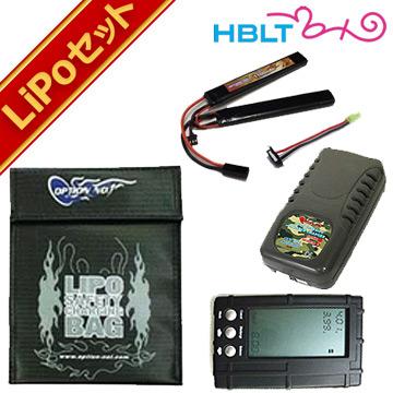 リポバッテリー 5点 セット オプション No.1 BigPower 1100mAh 7.4V SOPMOD タイプ /option マッチド LiPo LI-PO Battery 充電式 フルセット コネクター チェッカー バランサー セーフティバッグ サバゲー