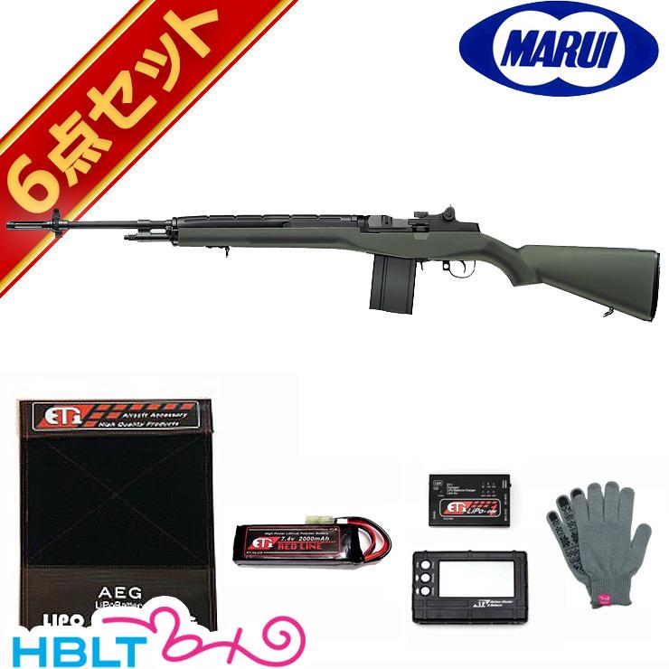 【東京マルイ】M14 ODファイバーストックタイプ 電動ガン LiPoバッテリー フルセット /エアガン/U.S.Rifle/7.62-MM/アメリカ軍制式採用/スナイパー/ライフル/リポ/フルセット