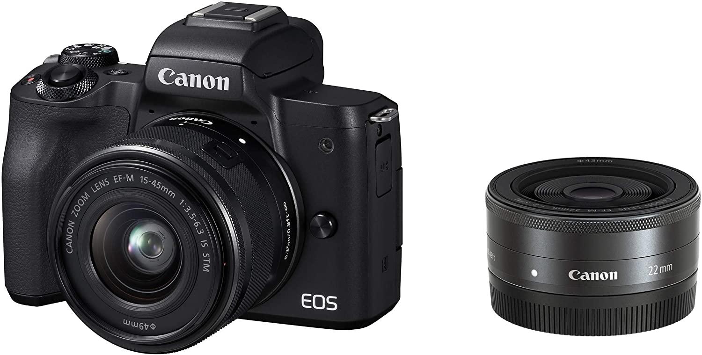 Canon ミラーレス一眼カメラ EOS Kiss M ダブルレンズキット ブラック EOSKISSMBK-WLK
