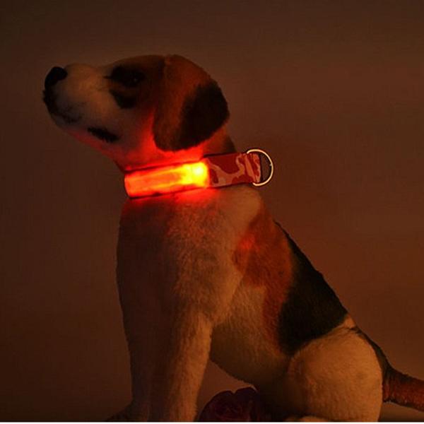 【エントリーでポイント5倍~】【ec4580424256130】 LEDライト内蔵 光る首輪(迷彩) ブルー L Huggy Buddy's [首輪 犬 ペット 光る ledライト 犬の首輪 事故防止 交通安全 夜間 散歩 迷彩柄 ハギーバディーズ]【ポイントUP:2019年4月9日pm20時~4月16日am1時59】