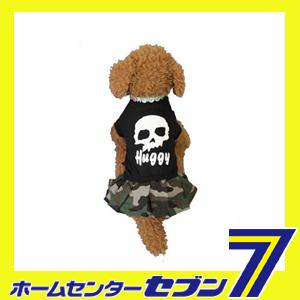 【hb1601b】 Huggy Buddy's ドクロと迷彩のワンピース ブラック Mサイズ イーコレ [犬 服 洋服 ワンピース 迷彩柄 ドクロ 髑髏 ペット用品 ペットウェア]