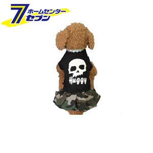 【hb1601b】 Huggy Buddy's ドクロと迷彩のワンピース ブラック Lサイズ イーコレ [犬 服 洋服 ワンピース 迷彩柄 ドクロ 髑髏 ペット用品 ペットウェア]