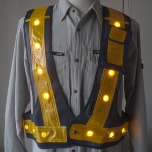 ミズケイ 多機能ベスト『光るんです』黄LEDタイプ 紺/金  【4582331371968:12553】