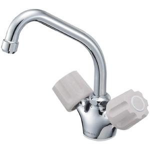 三栄水栓 ツーバルブワンホール混合栓(寒冷地用) K811K-LH-13-23【4973987621543:13750】