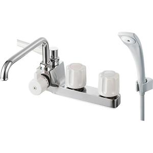 三栄水栓 ツーバルブデッキシャワー混合栓(寒冷地用) SK71041KL-LH-13【4973987660269:13750】