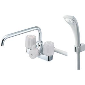 ●三栄水栓 ツーバルブデッキシャワー混合栓 SK71-LH-13【4973987688140:13750】