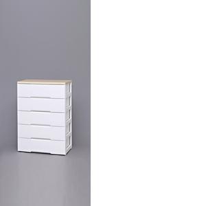 衣類収納 リビング収納 多段 アイリスオーヤマ ウッドトップチェスト ホワイト/ペアー HG-805【4967576276023:1309】